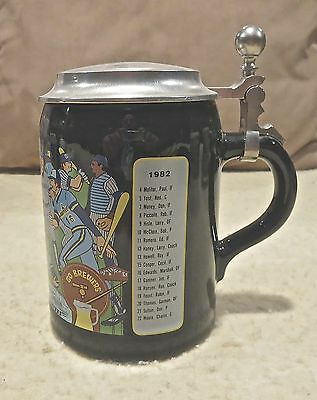 1982 Milwaukee Brewers Blue Ceramic Stein W/ Pewter Lid