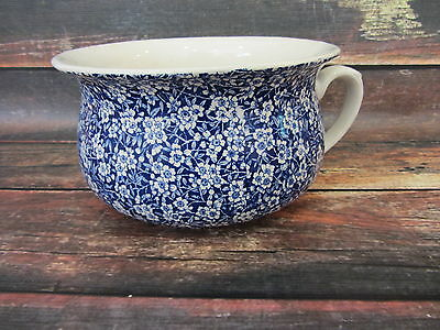 Antique Royal Crownford Ironstone Arthur Wood Blue Chintz Calico Chamber Pot