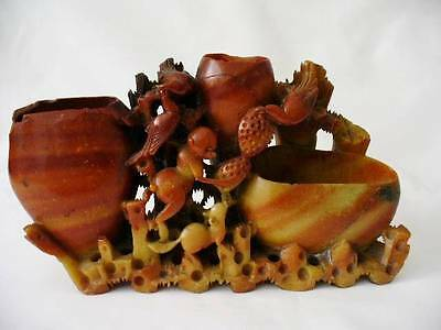 19th c Meiji Period Oriental / Japanese Carved Soapstone Triple Brush Pots/Wash