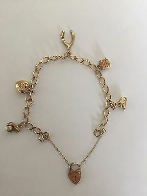 Vintage Hallmarked 9ct Gold Charm Bracelet - 8.2 grams -Good Condition 5 Charms