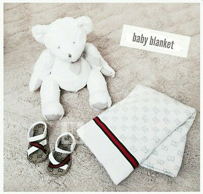 Gucci Baby Monogram Reversible Blanket White & Grey