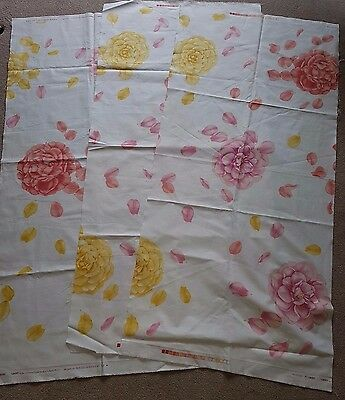 "3 x Remnants of Vintage Liberty ""Nanzen"" Cotton Fabric - Large Roses"