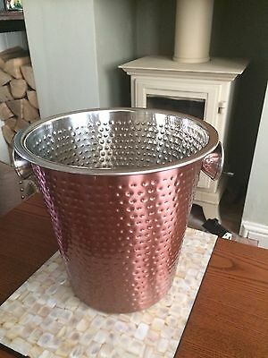 Hammered COPPER/stainless steel CHAMPAGNE/wine BUCKET