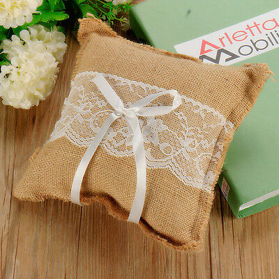 20cm x 20cm Brown Linen Flax Lace Flower Ribbon Ring Pillow Wedding Accessories