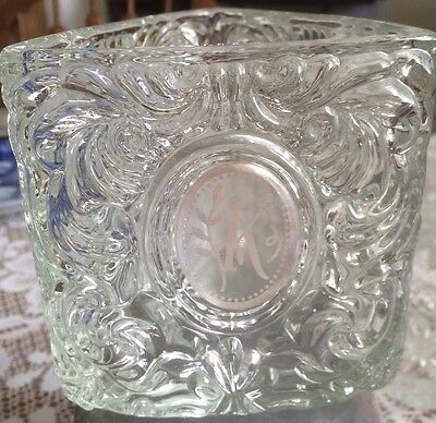 Avon Candle Holder - Heavy Clear Glass - Patterned Triangular Shape