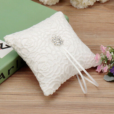 15cm x 15cm White Satin Diamante Rhinestone Lace Flower Wedding Ring Pillow
