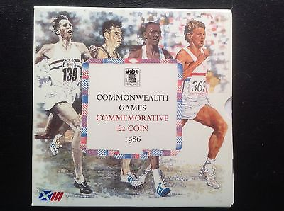 """1986 Royal Mint £2 coin """"Commonwealth Games"""" in folder  Scotland"""