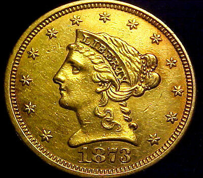 1873 $2.50 Liberty Head Gold ~ VERY NICE OBVERSE ~ Jewelry Grade Coin ~ 40YM