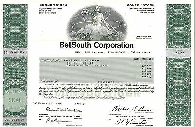 BellSouth Corporation > 1984 old stock certificate share
