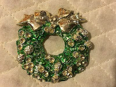 Vtg Christmas LARGE Gold-Tone Green Painted Wreath Signed Gerry