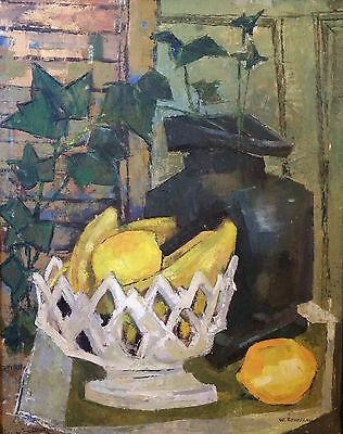Vintage Mid Century Still Life Oil Painting Abstract Original Canvas Signed 1960