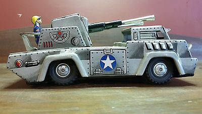 VINTAGE Sankei K Japn Tin Litho Friction Anti Aircraft Military Truck