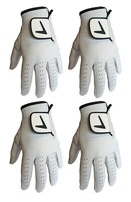 4 X Superb New Mens Lh Soft Full Leather Cabretta Golf Gloves In White