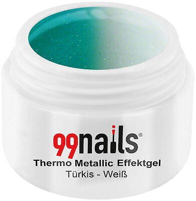 UV GEL Thermo Metallic Effektgel - Türkis-Weiß 5ml / Color Gel Made in Germany !