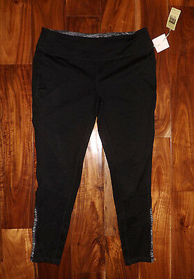 NWT Womens TANGERINE Brand Black Active Performance Exercise Ankle Pants M