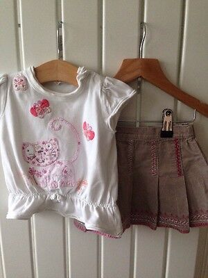 Baby Girl's Clothes 3-6 Months - 2pc NEXT Set Cat Theme Top & Corded Skirt Cute!