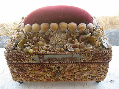Antique Large Colonial Seashell Box Sailor ARTS CRAFTS Valentine Pincushion 19c
