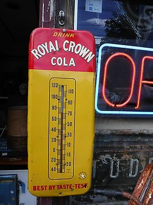 Royal Crown Cola Metal Advertising Sign Thermometer  Original 25'' 1950'S WORKS