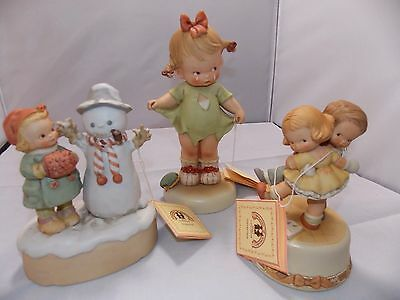 Lot of 3 Memories Of Yesterday  Enesco Figurines 2 Music Boxes