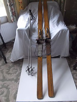 """Vintage Wooden Skis And Poles, Martin Sports, Geneve With """"kandahar"""" Bindings"""