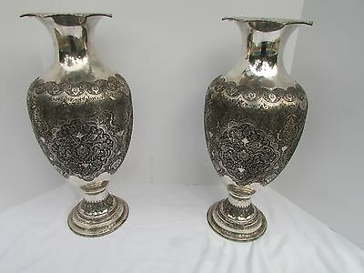 Museum Antique Islamic Qajar Indo-Persian Silver Vase 84 Marked
