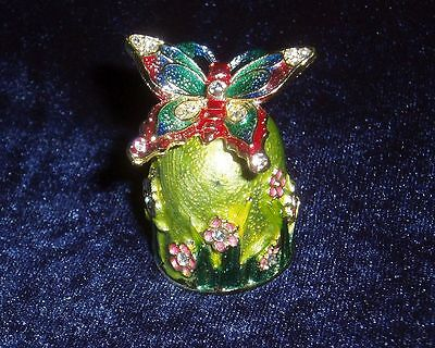 Russian Сollectible Handpainted Decorative Enamel Thimble Butterfly Moth