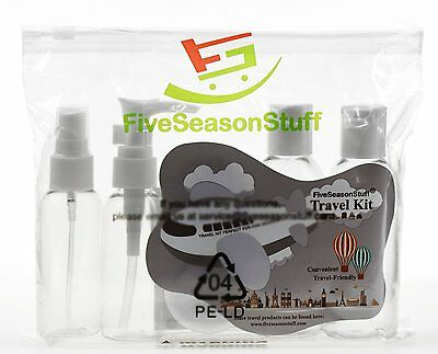New 5PC HOLIDAY TRAVEL CLEAR BOTTLE SET & BAG Airport Security Approved 100ml