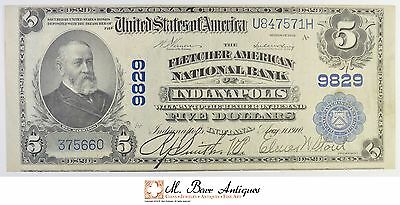 1902 $5.00 Fletcher American National Bank of Indianapolis Large Size Note *450