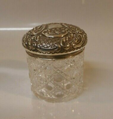 Beautiful Henry Williamson Ltd. Sterling Top & Cut Crystal Dresser Jar