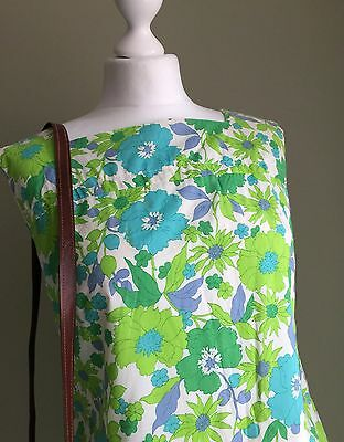 VINTAGE 1960's Cute MOD GREEN Turquoise BLUE - Pockets RETRO Vtg 60's DRESS - 14