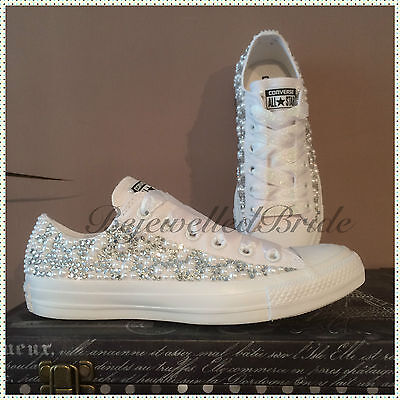 Gorgeous wedding converse, white, crystal & pearl sides, all sizes available