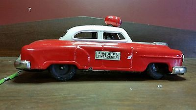 Linemar Japan Tin Litho Toy: Fire Car w/ Remote Control MIJ