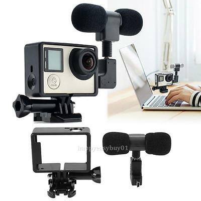 Mini Stereo Microphone 3.5mm Mic Camera Frame Accessory for GoPro Hero 3/3+/4