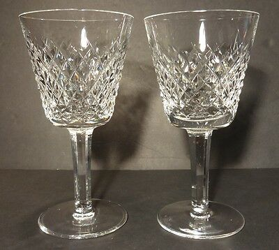 """*EXCELLENT* Waterford Crystal ALANA (1952-) Set of 2 Claret Wine Glasses 5 7/8"""""""