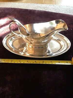 Mappin and Webb Silver Plate Sauce Boat Ladel and Coaster