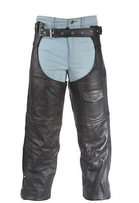Motorcycle Genuine Leather Biker Chaps Cowboy Pants, Black New - Free Shipping