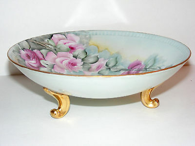 "Antique Porcelain 9"" Footed Bowl with Flowers Floral Design Marked Bavaria T4"