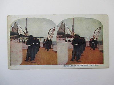 Antique Stereoview Card Marine Drill on Battleship Connecticut