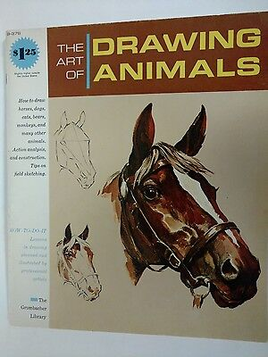 B-376 The Art of Drawing Animals Grumbacher Library 1965 Horses Dogs Cats Bears