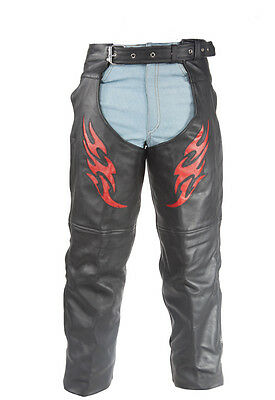 Flame Pattern Motorcycle Biker Chaps Leather Cowboy Pants New - Free Shipping