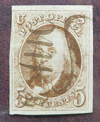 1847 Scott #1 United States Stamp 3 1/2 Large Margins Very Sharp and Sound