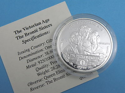 GIBRALTAR - 2001 SILVER PROOF CROWN COIN - THE BRONTE SISTERS + CoA
