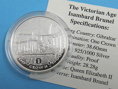 GIBRALTAR - 2001 SILVER PROOF CROWN COIN - ISAMBARD KINGDOM BRUNEL + CoA