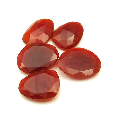 45.35 cts Natural Carnelian Fancy Shape Both Side Faceted Gemstone 5 pcs lot