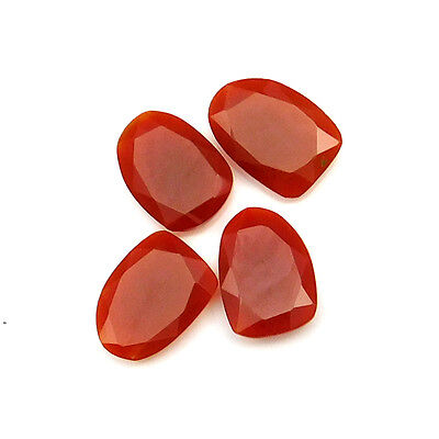 34.90 cts Natural Carnelian Fancy Shape Both Side Faceted Gemstone 4 pcs lot