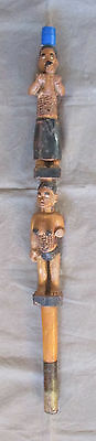 Very Old Kongo Bakongo Vili Carved Anthropomorphic Staff  - former Belgian CONGO