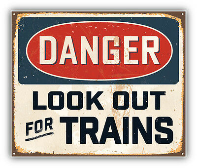 Danger Look Out For Trains Vintage Metal Sign Car Bumper Sticker Decal 5'' x 4''