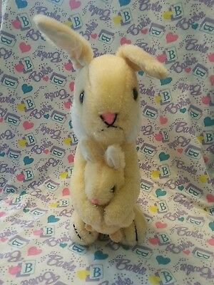 Dakin Peach Yellow Mom & Baby Easter BUNNY Rabbit Set - Stuffed Plush 1975 Korea