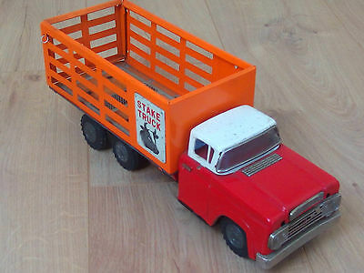 VINTAGE FORD STAKE TRUCK TIN PLATE BLECHSPIELZEUG 33cm MADE IN JAPAN FROM 60s