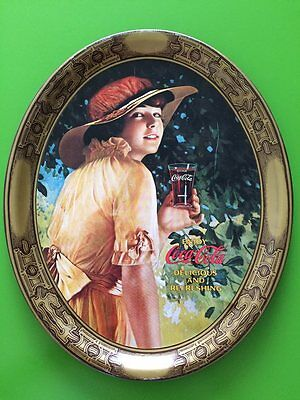 Coca Cola 1916 Tray -Reproduction 1976 World War 1 Serving WW1 Girl Oval Tin Tip